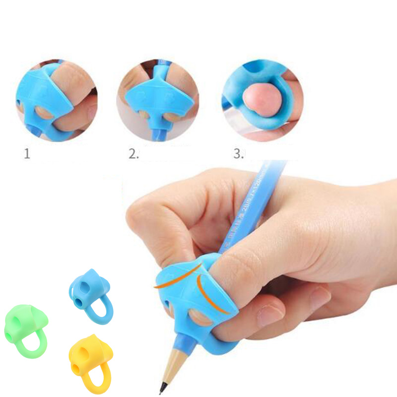 Three-Finger Pen Holder For Children'S Beginner Artifact Silicone Three-Color Student Writing Tool Correction Pencil Pen Writing