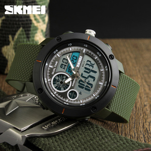 Image 1 - Skmei 새로운 야외 스포츠 시계 럭셔리 브랜드 디지털 쿼츠 시계 남자 방수 군사 육군 손목 시계 relogio masculino