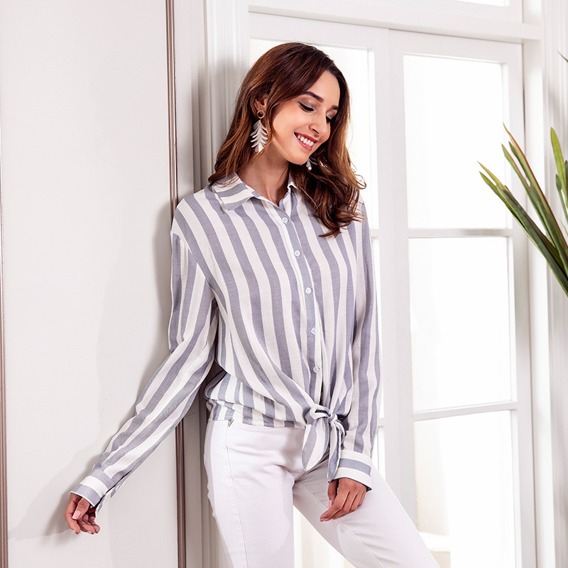 Yovamoo Womens Tops And Blouses 2018 Vertical Striped Casual Front Button Long Sleeve Turn-down Collar Fashion Bow Vintage Shirt