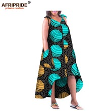 2018 spring african casual women dress AFRIPRIDE customized v-neck ankle-length spaghetti strap cotton for A1825010