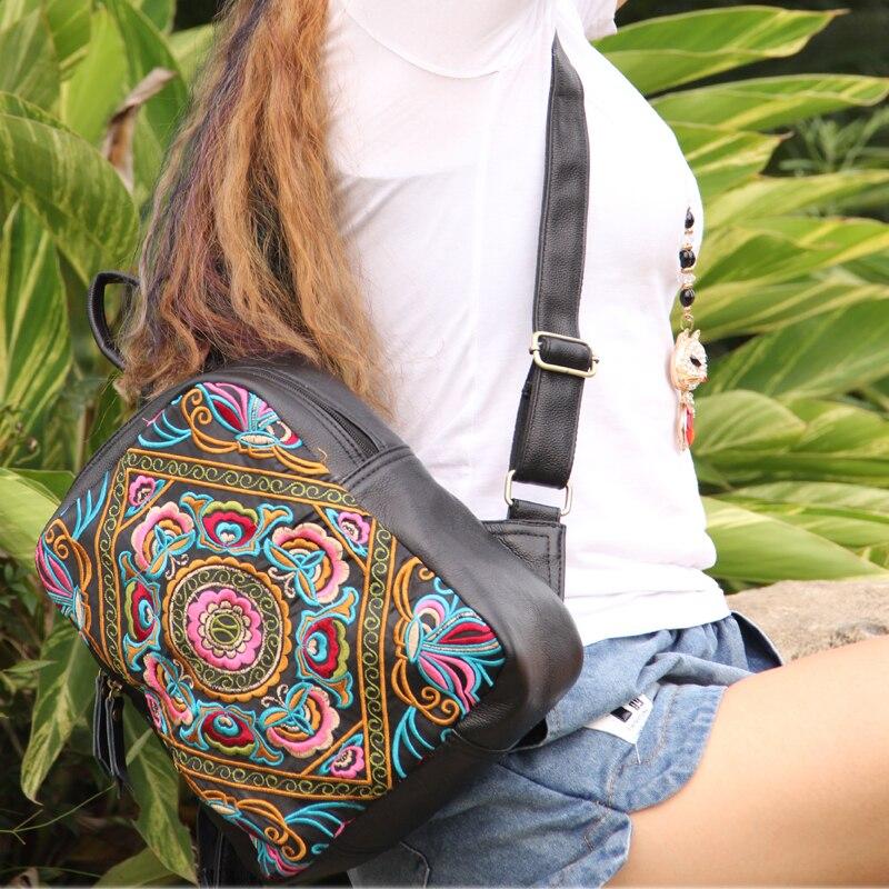 브랜드 샘플 가방 특별 제공 클래식 수 놓은 여자 배낭 정품 가죽 빈티지 배낭 여행-에서백팩부터 수화물 & 가방 의  그룹 2