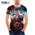 Forudesigns 2017 moda galaxy espacio estrellas patrón camiseta para los hombres de Alta Calidad de Los Hombres de Manga Corta 3D Camiseta Ocasional Del Verano Tops