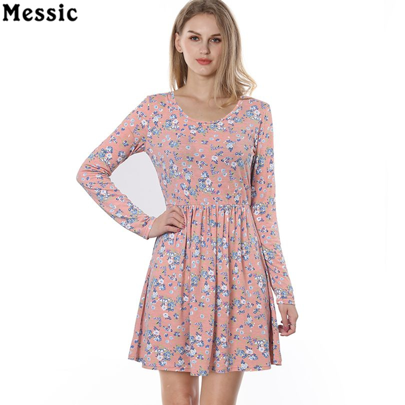 f80ab65b890f Messic Women Autumn Spring Vintage Dress Long Sleeved Print Floral Dress  Women Retro Vintage Elegant Tunic Vestidos Knit Dresses-in Dresses from  Women's ...