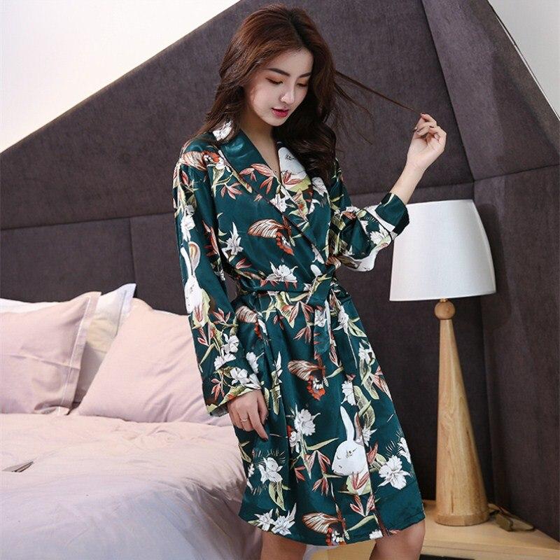 Women Silk Satin Night Robe Printing Spring Kimono Robe vintage Fashion  Sexy Bathrobe Peignoir Femme Sexy ... e85c74cd3
