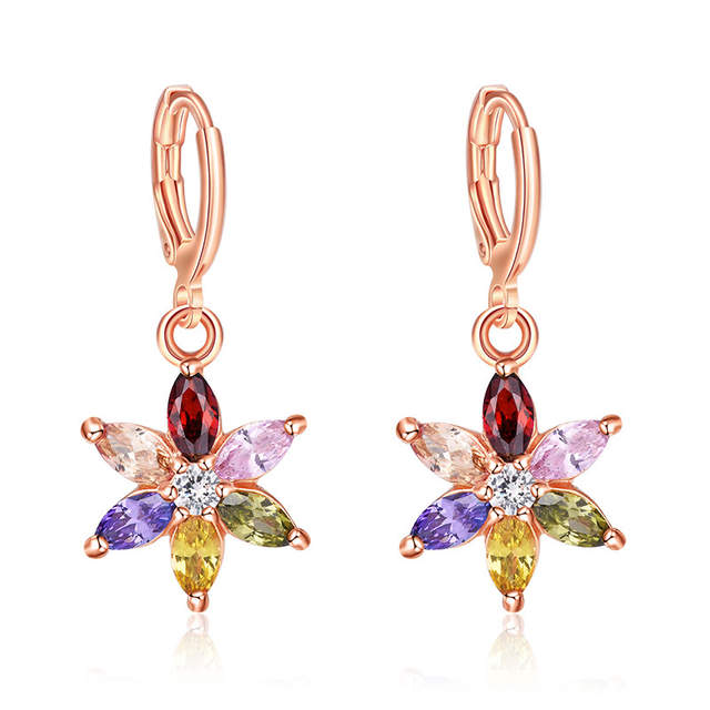 placeholder Zircon Earring Flower Pendant Hexagonal Star Drop Earrings  Colored Rhinestone Six Jewelry Stone Cherry Blossom Rose a972be93623a