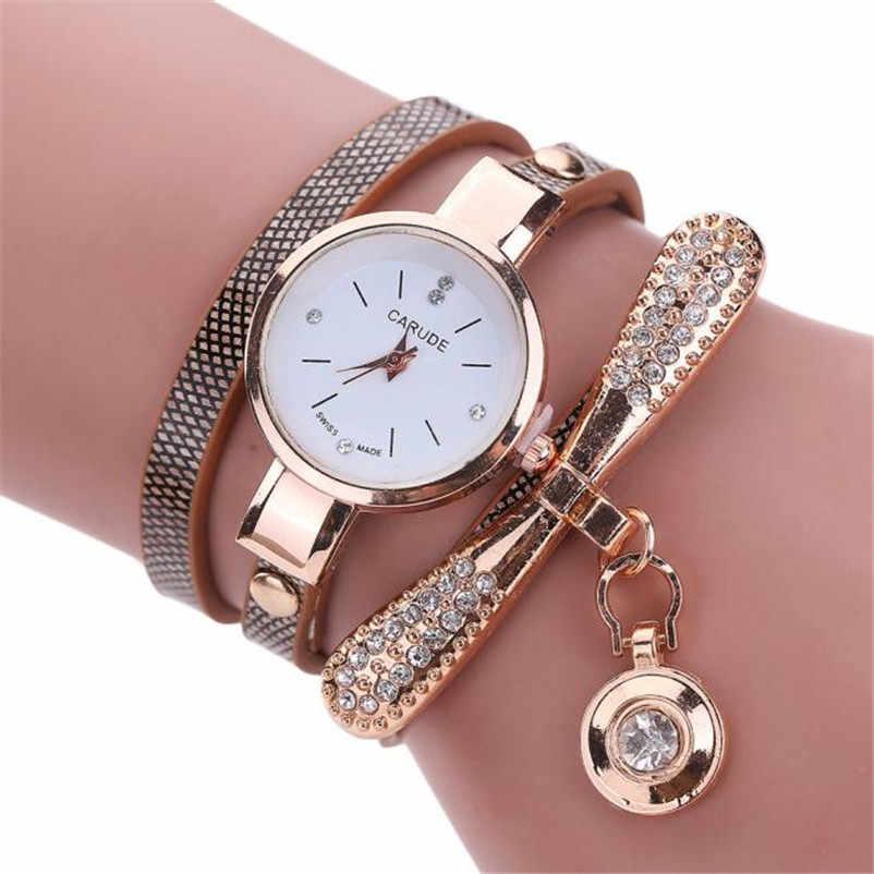 Women Watches Fashion Casual Bracelet Watch Women Relogio Leather Rhinestone Analog Quartz Watch Clock Female Montre Femme P20