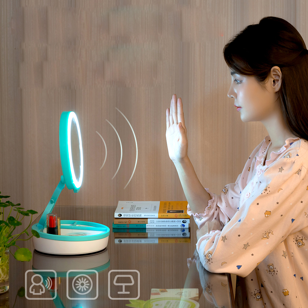 led mirror table makeup set gift for woman infrared sensors colorful table lamp led light mirror with rechargeable battery box цены онлайн