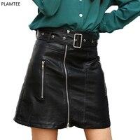Street Wear Zipper Pu Leather Skirt Womens Black Slim High Waist Female Sexy Skirts Spring Summer
