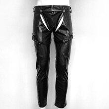 Faux Leather Mens Open Crotch Pants Black Night Club Exotic Sexy Male Dance Pants PVC Leather Men Straps Trousers Lingerie топ и стринги faux leather open top