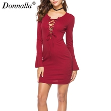 Donnalla Women Autumn Dress Long Sleeve O Neck Tie Knitted Sexy Woman Slim Club Party Dresses