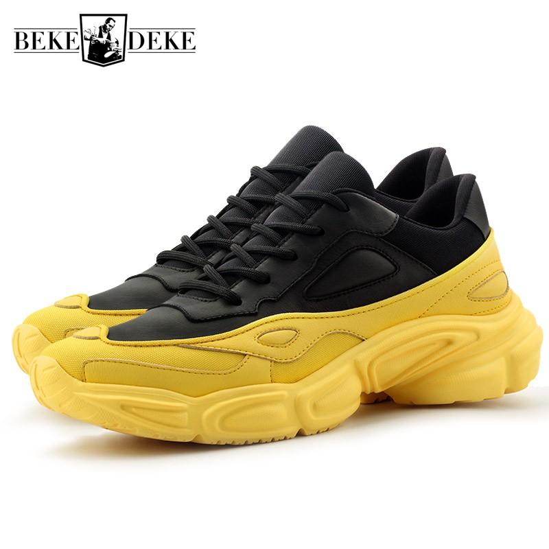 Designer Sneakers Men Genuine Leather Casual Shoes 2019 Spring New Lace Up Black White Luxury Trainers Tenis Masculino Adulto