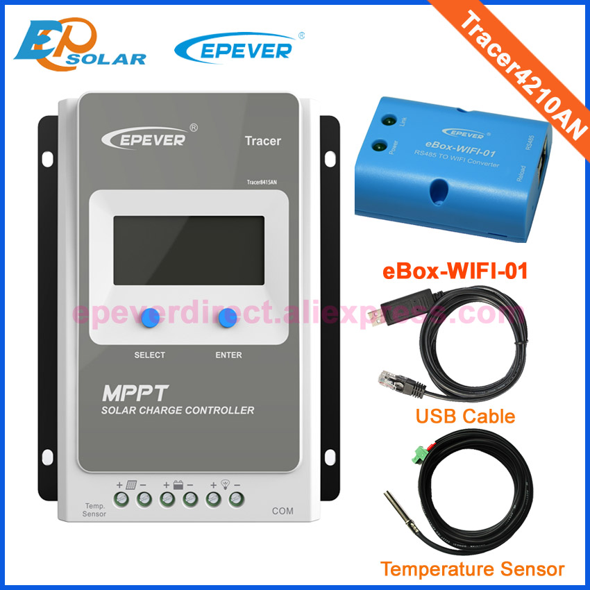 Tracer 4210AN MPPT Solar Charge regulator with USB cable+temperature sensor 40A EPSolar with MT50 wifi function for APP use 20a 12 24v solar regulator with remote meter for duo battery charging