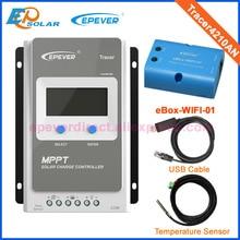 Tracer 4210AN MPPT Solar şarj regülatörü ile USB kablosu + sıcaklık sensörü 40A EPSolar ile MT50 wifi fonksiyonu uygulaması kullanımı