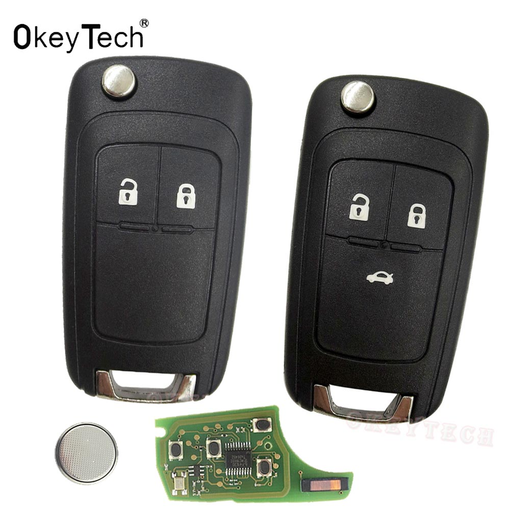 OkeyTech 2 3 Buttons Complete Flip Car Remote Key For Opel astra h g j Vauxhall Key Replace 433MHZ ID46 Electronic Chip On Board