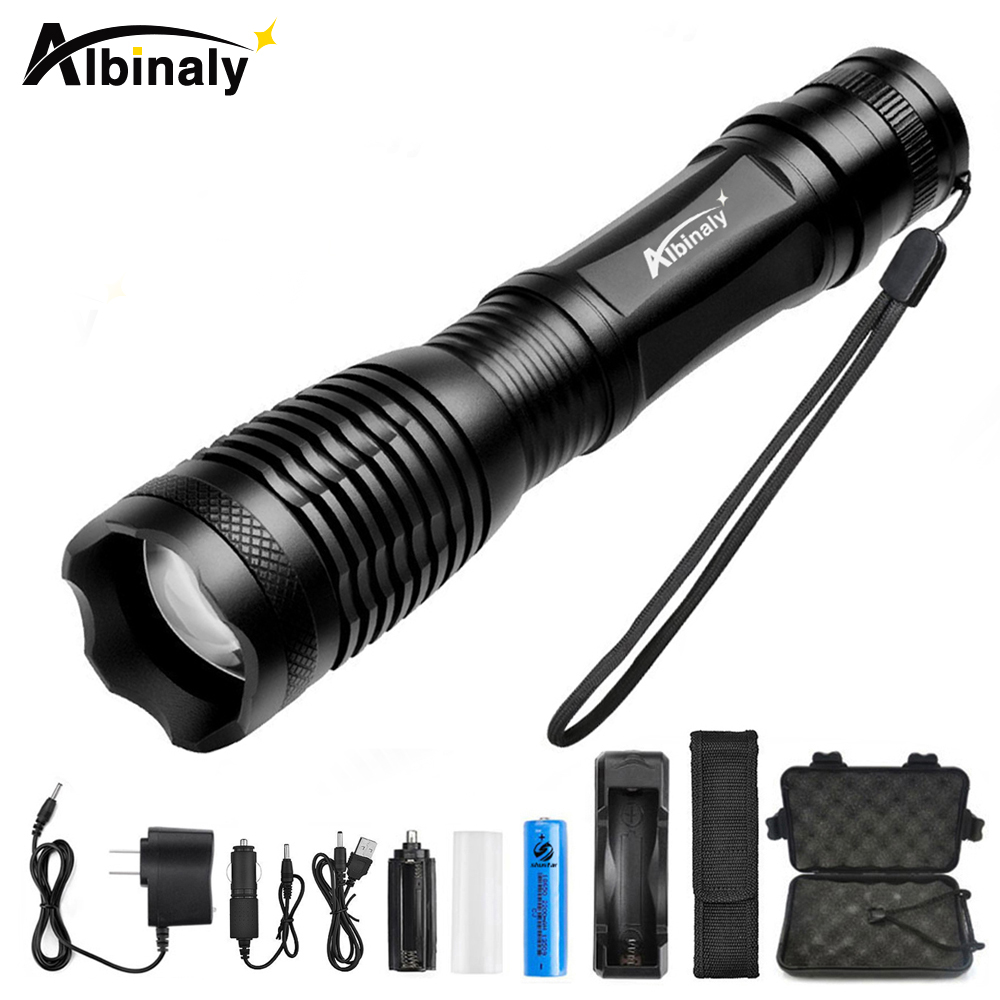 Albinaly LED Tactical Flashlight CREE XML-T6/L2 8000 Lumens Porable Torch 5 Mode Adjustable Focus Waterproof use 18650 battery poppas zoom cree xml t6 l2 flashlight led torch 5 mode waterproof battery