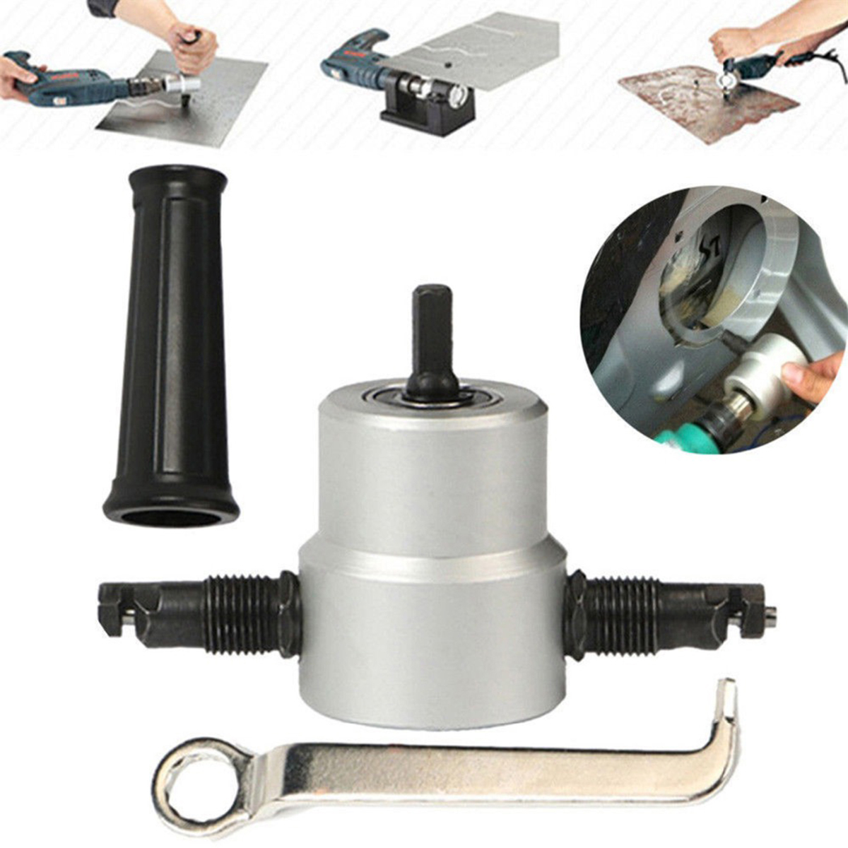Nibble Metal Cutting Double Head Sheet Nibbler Saw Cutter Tool Drill Attachment Free Cutting Tool Nibbler Sheet Metal Cut Set