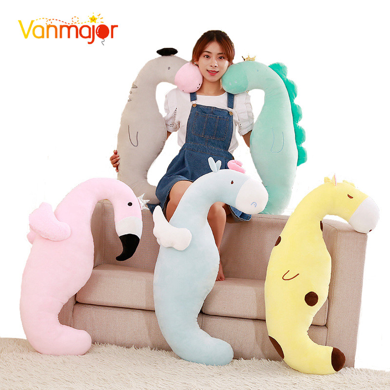 Vanmajor <font><b>85cm</b></font> Creative Flamingo One-Angler Horse <font><b>Doll</b></font> Plush Toy Pillow Cushion Nap Sleeping Cloth <font><b>Doll</b></font> Birthday Gift For Child image