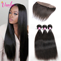 Peruvian Virgin Hair Straight 3 Bundles With Frontal Closure 7A Unprocessed Virgin Hair Straight Human Hair Frontal And Bundles