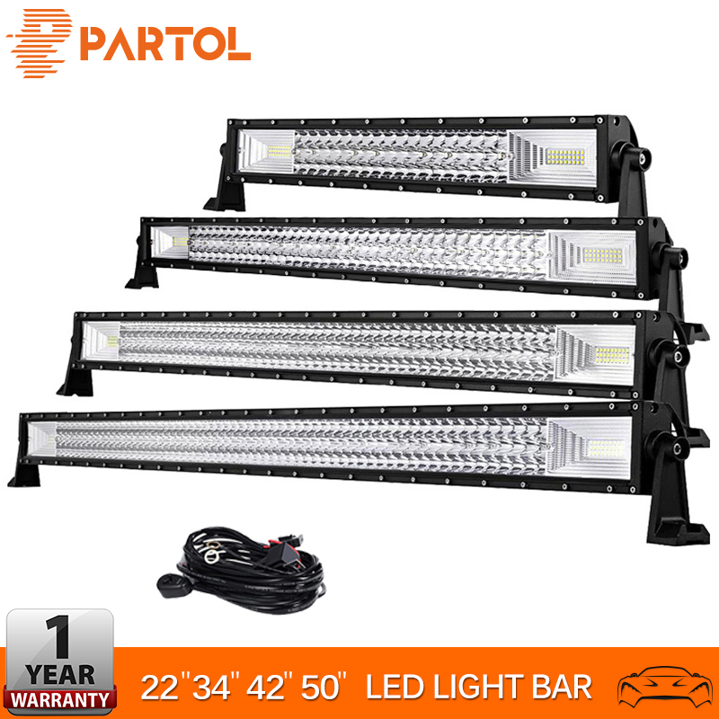 Partol 22 34 42 50 Straight Curved Tri Row LED Light Bar Combo Beam Offroad Work