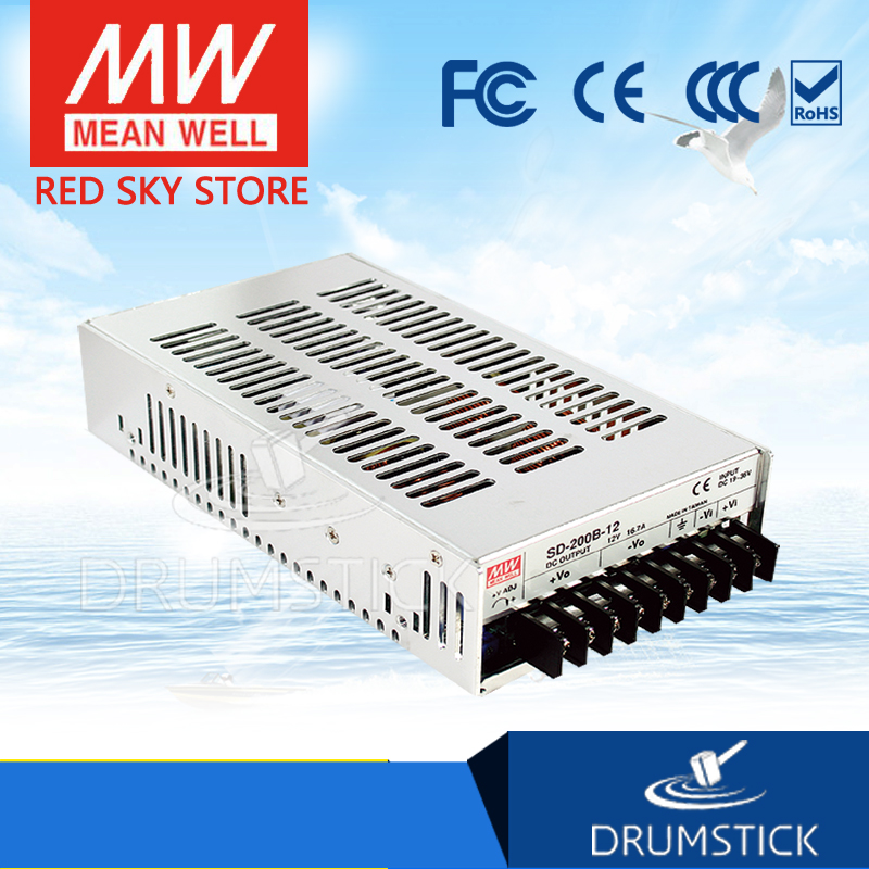 hot-selling MEAN WELL SD-200B-12 12V 16.7A meanwell SD-200 12V 200.4W Single Output DC-DC Converter [Real6] [powernex] mean well original sd 500l 12 12v 40a meanwell sd 500 12v 480w single output dc dc converter