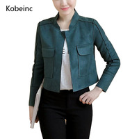 Kobeinc Open Stitch Short Jackets Women Suede Leather Jackets Autumn Wild Casual Cozy Coats Solid Color