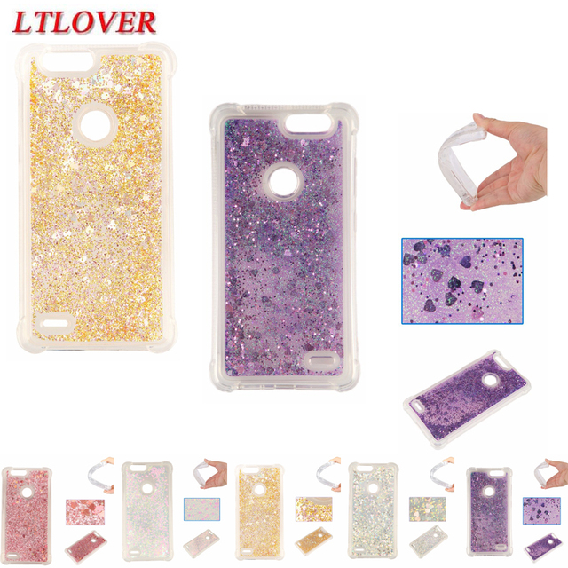 For ZTE Z982 Cases Love Heart Glitter Dynamic Liquid Quicksand Case For ZTE Blade Z Max Zmax Z982 Soft Silicone Back Cover Funda