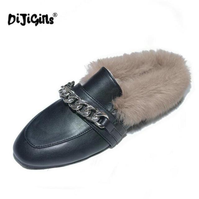 0642fb5b0442 DIJIGIRLS Women Chain Rabbit Fur Slides Ladies Mules Chiara Ferragni Furry  Slippers Loafers Flats Backless Slipony Sandals Shoes