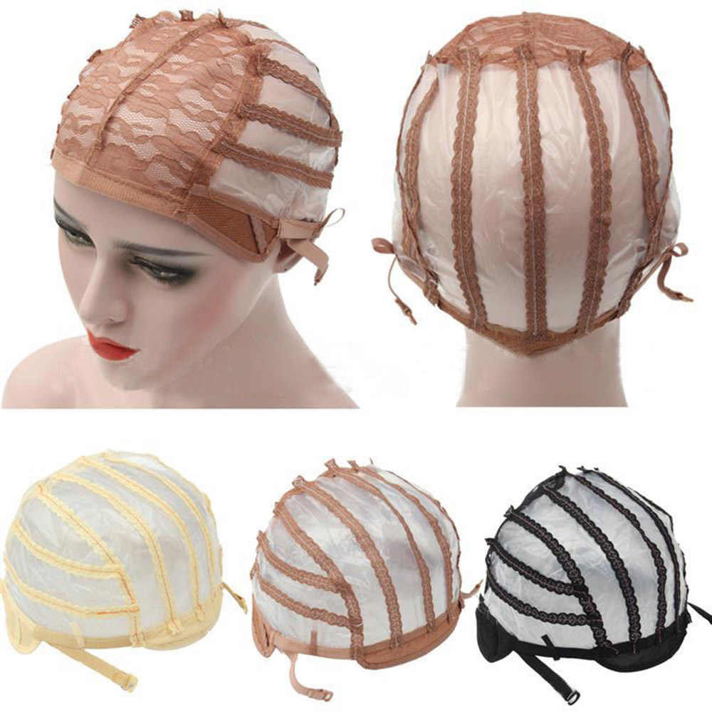 High Quality Wig Cap Making Wigs Straps Breathable Mesh Weaving Adjustable Cap 3 Styles Black Beige Brown Hot Sale