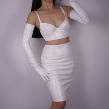 Woman Gloves Bright Leather Patent PU Female Dance Party Simulation White Cosplay P1370-14