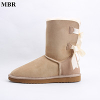 MBR 2017 Fashion Genuine Sheepskin Leather Wool Fur Lined Mid Calf Suede Women Winter Snow Boots