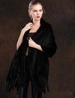 Женские шарфы из натурального меха норки черные теплые модные зимние