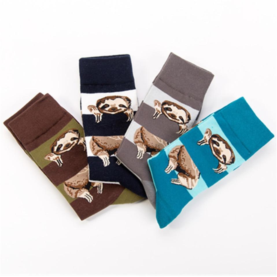 Personality Fashion Printing Cartoon Animals Sloth Pattern Amozae Stripe Socks Men High Quality Ventilation Cotton Sokken