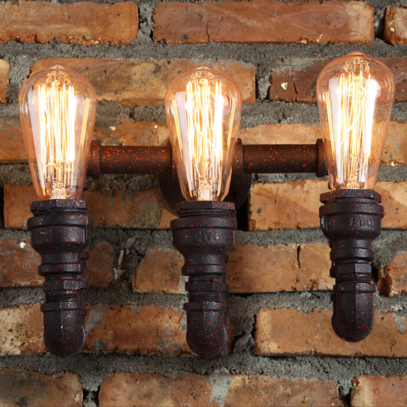 Steam punk Loft Industrial 2/3 lights rust Water pipe retro wall lamp LED E27/E26 sconce lighting for home living room bathroom