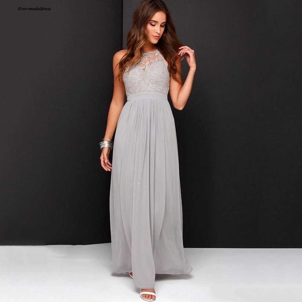Simple Long Grey   Bridesmaid     Dresses   Lace Top O Neck Sleeveless Maid Of Honor   Dresses   A Line Floor Length Open Back Cheap