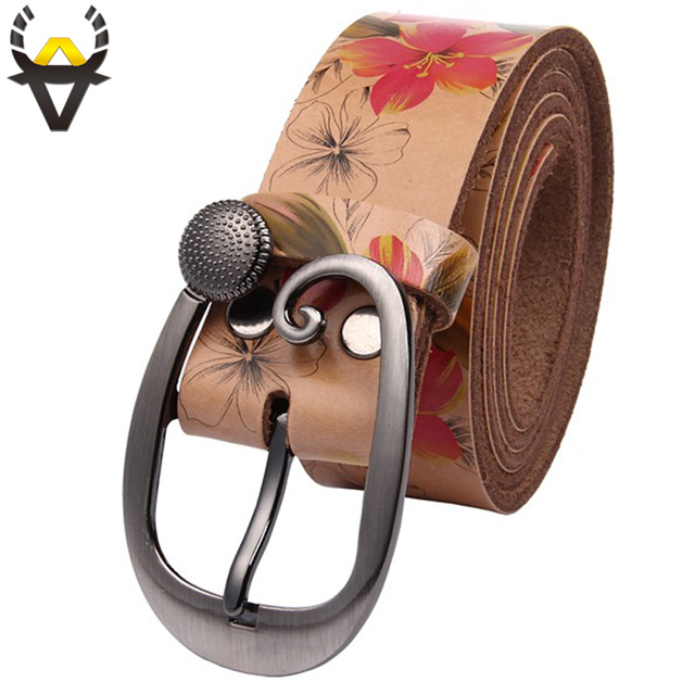 Fashion Genuine leather woman belt Pretty Floral strap for women jeans Wide Pin buckle female belts High quality second Cowskin