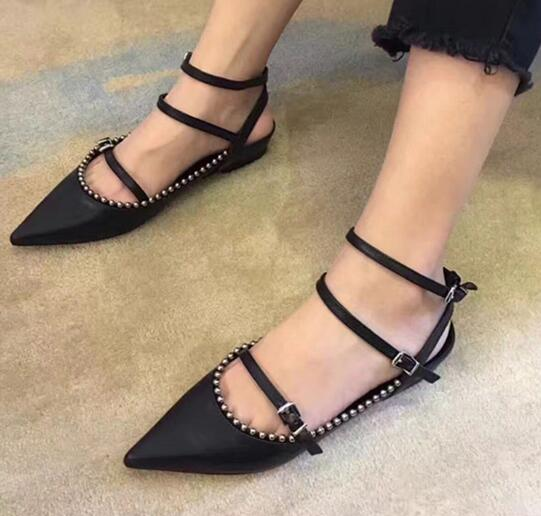 2017 newest black leather flat shoes for woman sexy pointed toe rivets studded ankle strap shoes cutouts buckle strap shoes