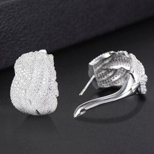Image 5 - GODKI 25mm Luxury Twist Braided Cross Lines Colorful Full Mirco Cubic Zircon Stud Earring For Women Wedding Dubai Gold Earrings