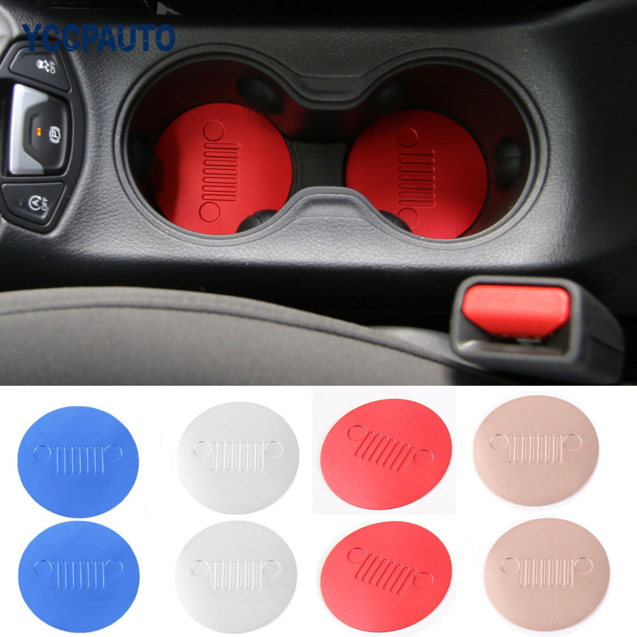 car styling Decoration Dustproof Non-slip Front Seat Car Cup Mat Pad For Jeep Compass 2017 Car Interior Accessories 2pcs/set car interior accessories rubber auto luminous gate door pad anti slip cup holder mat cover cushion for 2009 2012 hyundai ix35