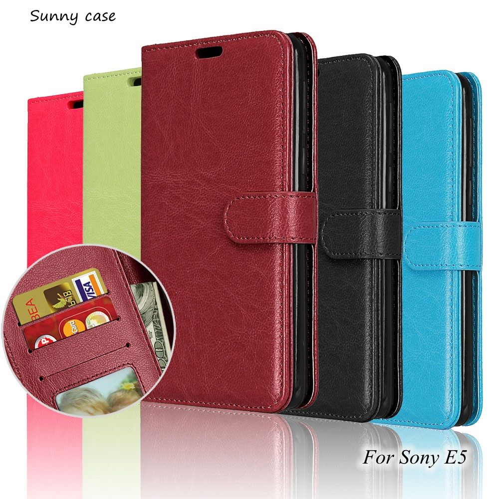 for sony xperia e5 case luxury flip wallet pu leather case. Black Bedroom Furniture Sets. Home Design Ideas