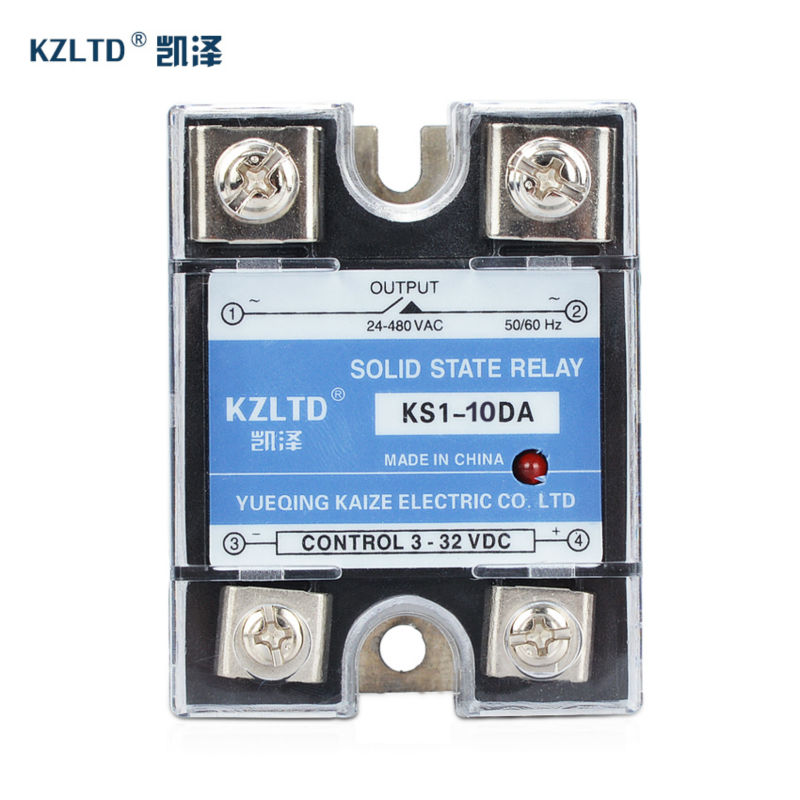 SSR-10DA SSR Relay 10A Solid State Relay 3~32V DC to 24~480V AC Relay Switch with Free Plastic Cover 10A  KS1-10DA  No Contact normally open single phase solid state relay ssr mgr 1 d48120 120a control dc ac 24 480v