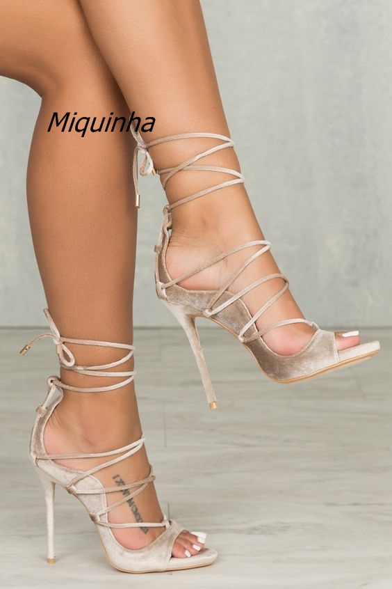 Groovy Cut-out Lace Up Stiletto Heel Dress Sandals Women Grey Suede Open Toe Cross Strap Heels Fashion Thin Heel Shoes Hot Sell high quality suede leather strappy sandal high heel cut out ankle strap lace up summer dress shoes zapatos dress shoes for women