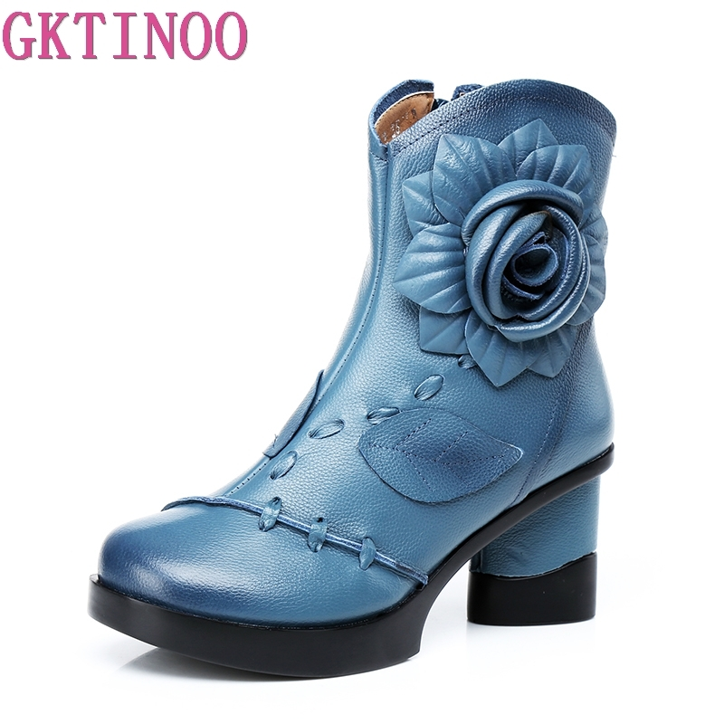 GKTINOO Women Genuine Leather Boots 2019 Fashion Handmade Retro Boots High Heels Ankle Boots Female Cowhide Floral Shoes-in Ankle Boots from Shoes    1