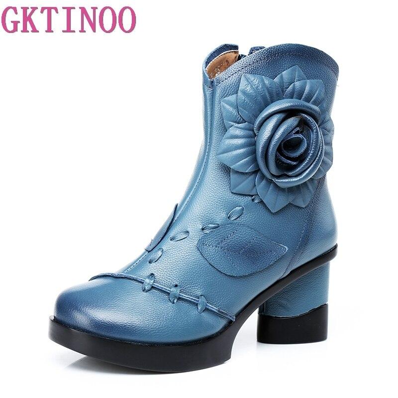 Gktinoo 여성 정품 가죽 부츠 2019 패션 수제 레트로 부츠 하이힐 발목 부츠 여성 소 가죽 꽃 신발-에서앵클 부츠부터 신발 의  그룹 1