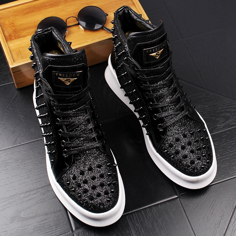 Stephoes 2019 Men Fashion Casual Ankle Boots Spring Autumn Punk Style Rivets Trend Shoes Male Leather High Top Hip Hop Sneakers