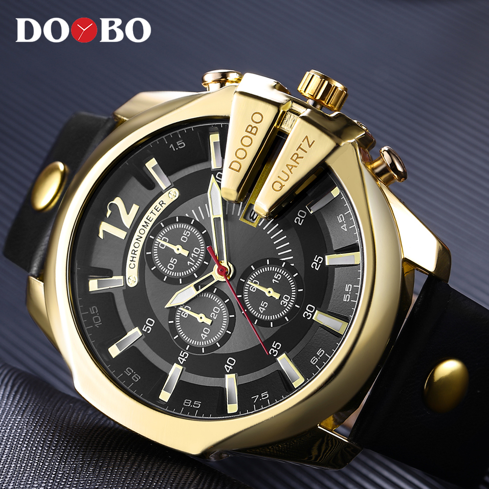 DOOBO 8176 Brand Casual Men's Watches Leather Waterproof Luxury Fashion Quartz Watch Men Sport Military Army Wristwatch Gold weide new men quartz casual watch army military sports watch waterproof back light men watches alarm clock multiple time zone