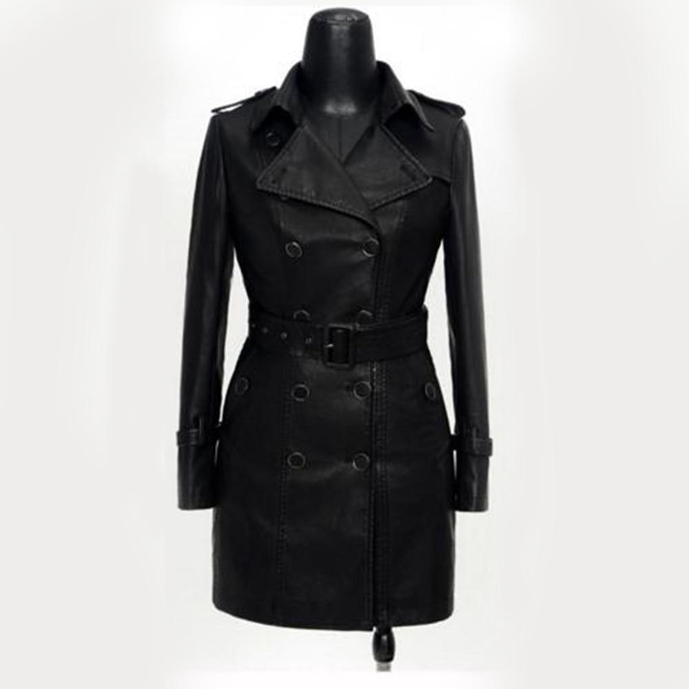 Jacket Black Outerwears Coat Faux-Leather Vintage Autumn Plus-Size Fashion Elegant Button