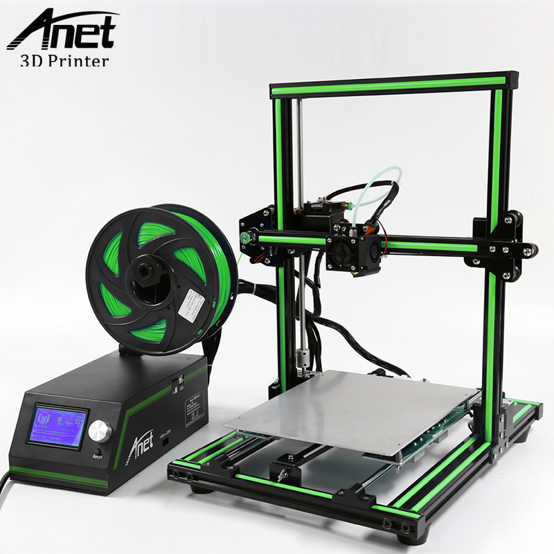 New Model Anet E10 3D Printer Easy Assembly Aluminum Frame 3D Printer Hot Bed DIY Filament Kit LCD Screen Large Print Size large buid size newest kossel k280 delta 3d printer 24v 400w power with auto level and heat bed two rolls of filament gift