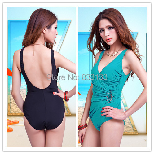 US $19 99 |Free shipping lady bathing suit triangle,very large size bra cup  swimwear,woman plus size one piece U back swimsuit-in One-Piece Suits from