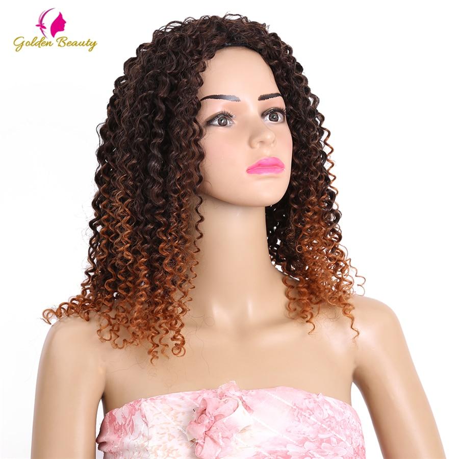 Golden Beauty 6st / pack Kinky Curly Sy i väv Hair Extensions 14-18 - Syntetiskt hår - Foto 5