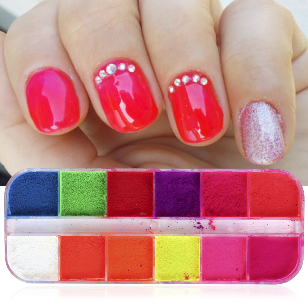 Image 3 - Mixed 12 Color Fluorescent Nail Art Pigment Neon Summer Shinny Glitter Nail Powder Dust Ombre Gradient Manicure Tool CHYE-in Nail Glitter from Beauty & Health